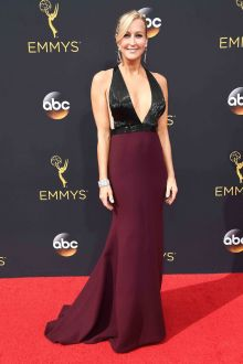 lara spencer sexy elegant two tone plunging evening prom dress emmys 2016