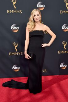 joanne froggatt elegant strapless black sheath long evening dress emmys 2016