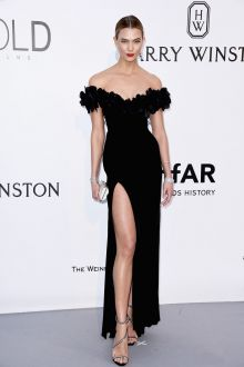 karlie kloss unique black off the shoulder high split prom gown amfar 2016