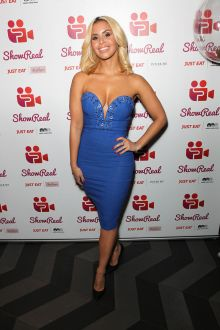 shanie ryan sexy strapless plunging sweetheart fitting blue dress showreal 2016