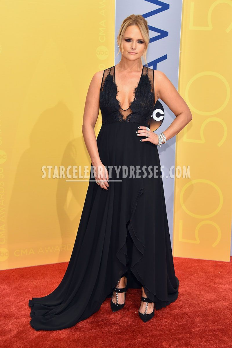 Miranda Lambert Sheer Lace Plunging Black Ruffled Chiffon