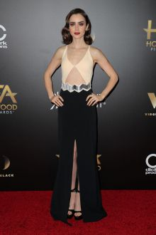 lily collins beige and black two tone unique prom dress hollywood awards 2016