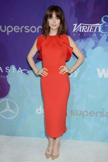 lily collins cute red ruffled satin ankle length prom dress stylemaker 2016