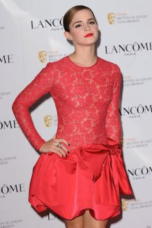 emma watson red lace satin long sleeve cocktail red carpet dress pre bafta 2016