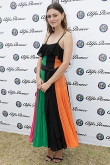 pretty multi color chiffon ankle length a line phoebe tonkin evening prom dress