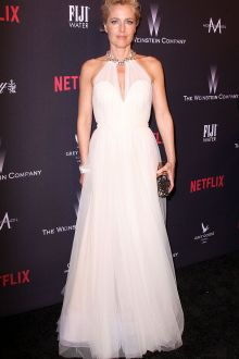 gillian anderson beaded halter sheer ivory tulle prom dress golden globes 2017