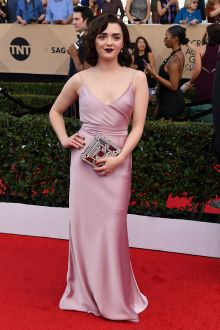 maisie williams simple spaghetti strap satin long prom dress sag 2017