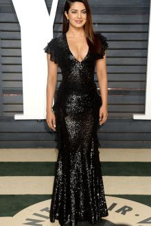 ruffled cap sleeve black sequin long prom dress priyanka chopra oscar 2017