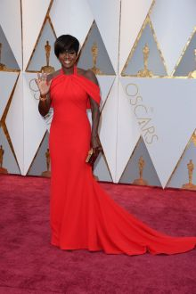 halter off the shoulder red celebrity prom dress viola davis oscars 2017