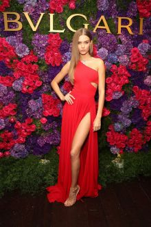 one shoulder red chiffon thigh high slit dress josephine skriver pre oscar