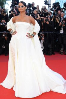 Rihanna Ivory Celebrity Red Carpet Prom Dress with Floor Length Jacket Cannes 2017