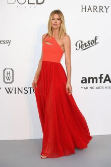 Doutzen Kroes  Two tone Orange Red Pleated One Shoulder Evening Dress Cannes 2017