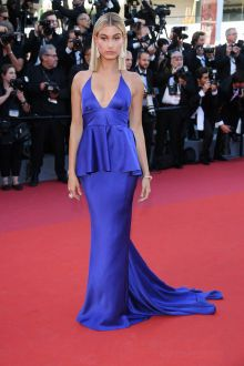 Hailey Baldwin Peplum Plunging Royal Blue Satin Prom Dress Cannes 2017 Red Carpet