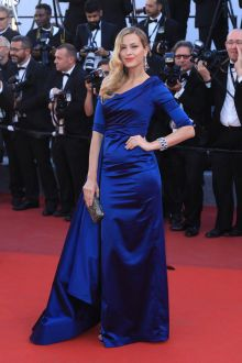 Petra Nemcova Asymmetrical Royal Satin Evening Celebrity Dress Cannes 2017