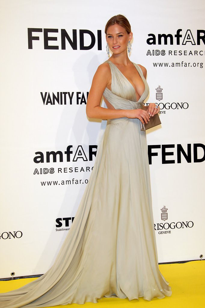 Bar Refaeli Celebrity Evening Dress Sexy V Neck Silver Chiffon