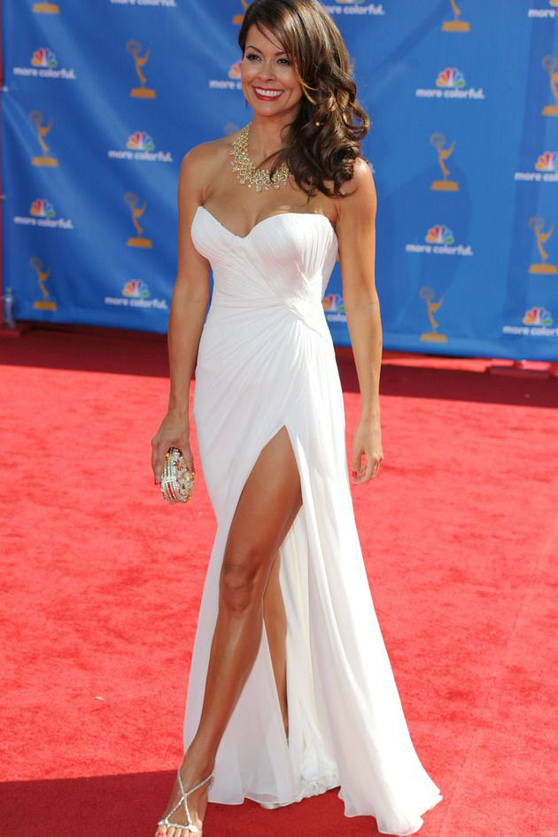 Brooke burke red carpet dress strapless white chiffon side slit prom gown starcelebritydresses - Red carpet oscar dresses ...