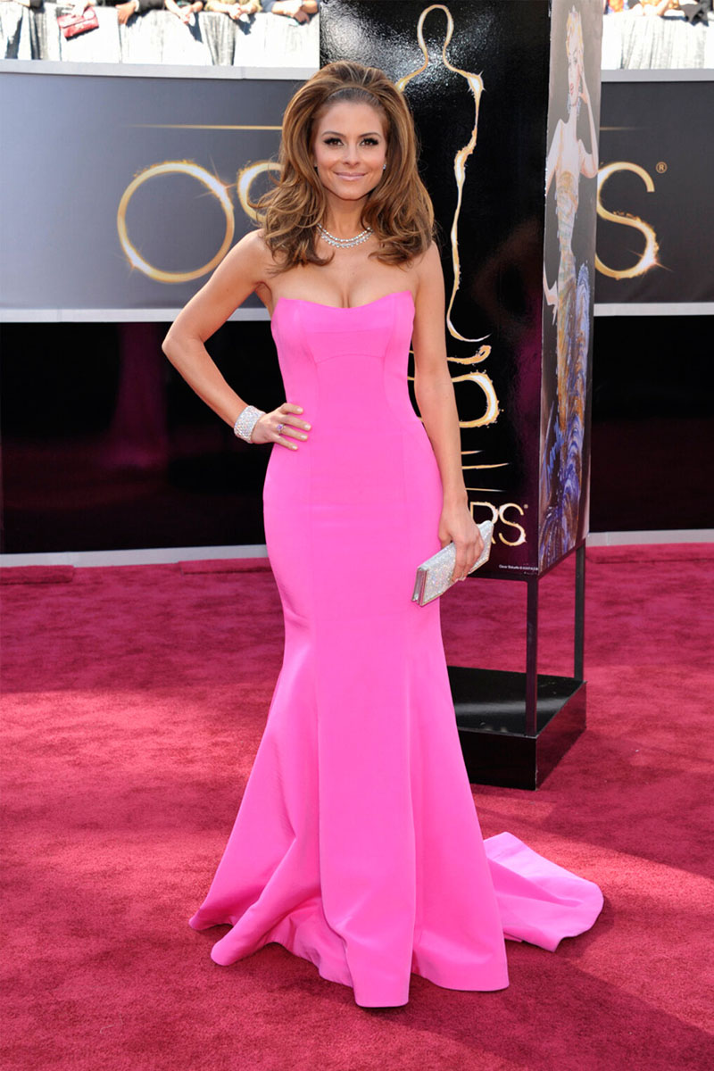 Celebrity maria menounos oscars red carpet strapless trumpet pink satin prom dress - Red carpet oscar dresses ...