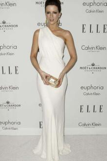 kate beckinsale white chiffon one shoulder mermaid long evening formal dress
