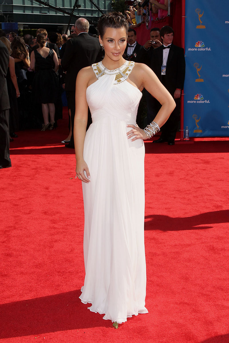 kim kardashian metallic halter white chiffon evening prom dress emmy awards