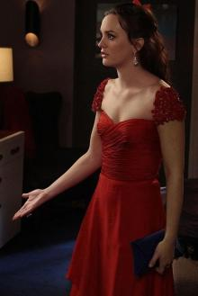 leighton meester dress in gossip girl season red chiffon cap sleeve evening dress