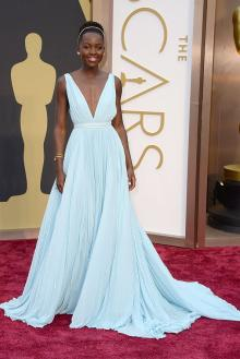 lupita nyong light blue oscar red carpet prom dress plunging v cut pleated chiffon