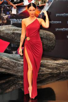 megan fox transformers one shoulder red chiffon sheath celebrity prom dress