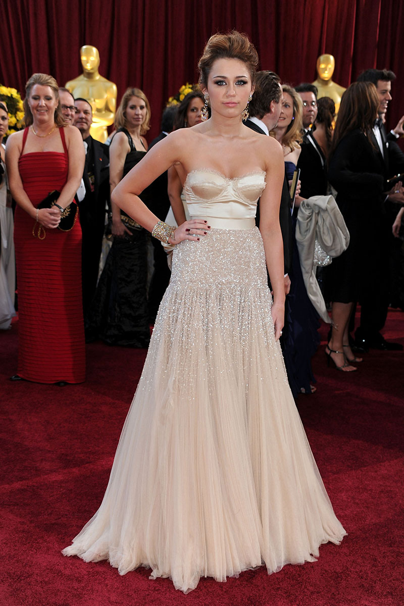 Miley cyrus champagne beaded red carpet a line prom dress oscar awards starcelebritydresses - Red carpet oscar dresses ...