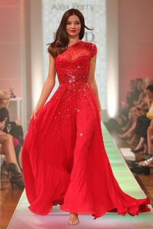 miranda kerr t stage celebrity dress sequined red chiffon one shoulder prom gown