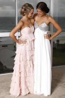 pink chiffon tiered a line celebrity bridesmaid dress strapless sweetheart