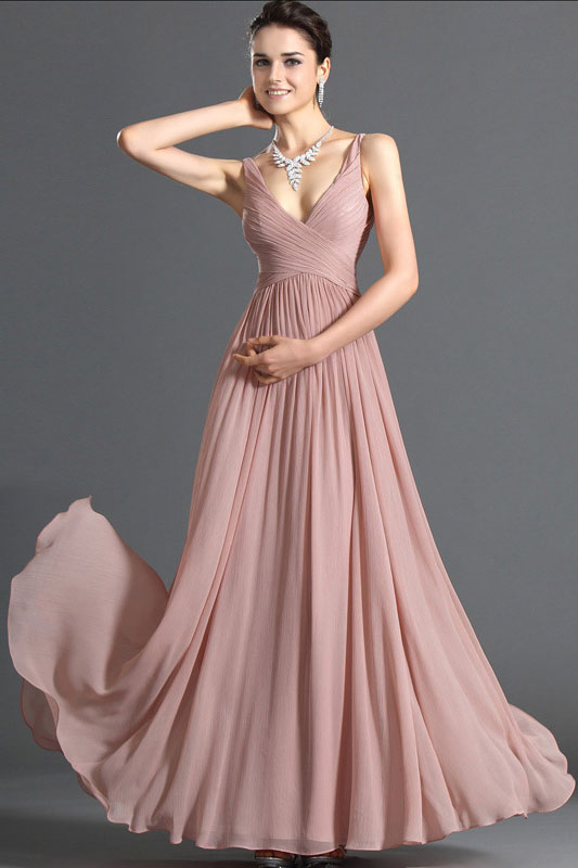 Pleated Dusty Pink Chiffon V-neck Sleeveless A-line Long Prom ...