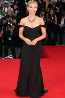 scarlett johansson black evening prom dress under the skin venice film festival