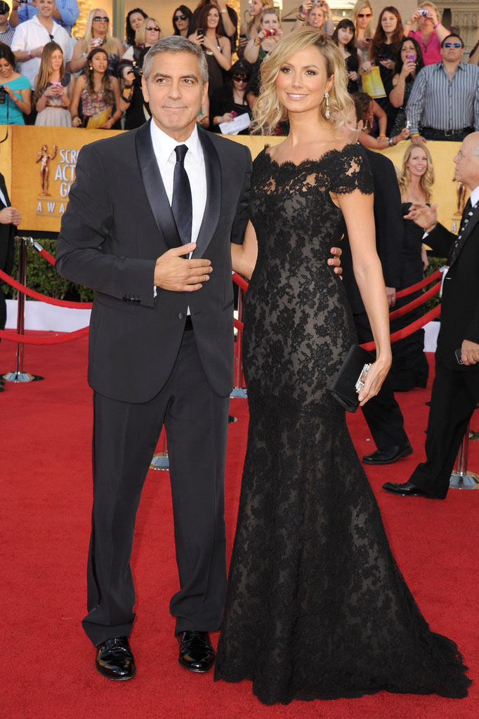 stacy keibler dress sag awards black floral lace trumpet celebrity evening gown