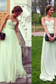 strapless sweetheart mint green chiffon a line long celebrity dress