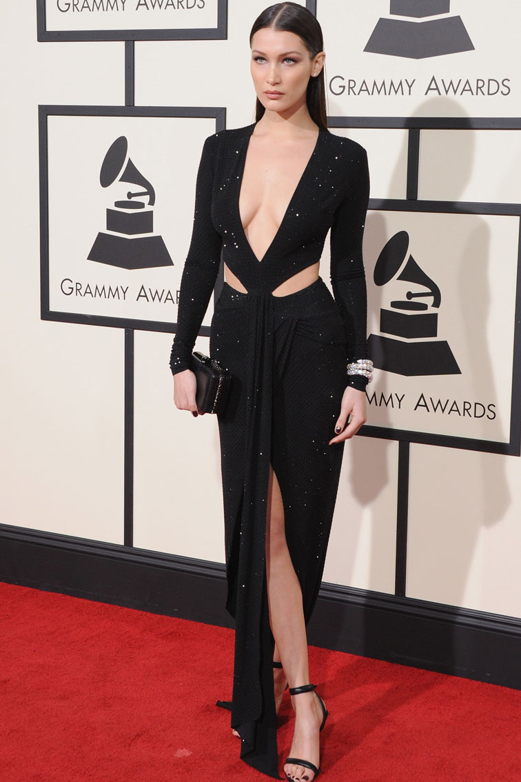 bella hadid long sleeve black slit evening dress grammys