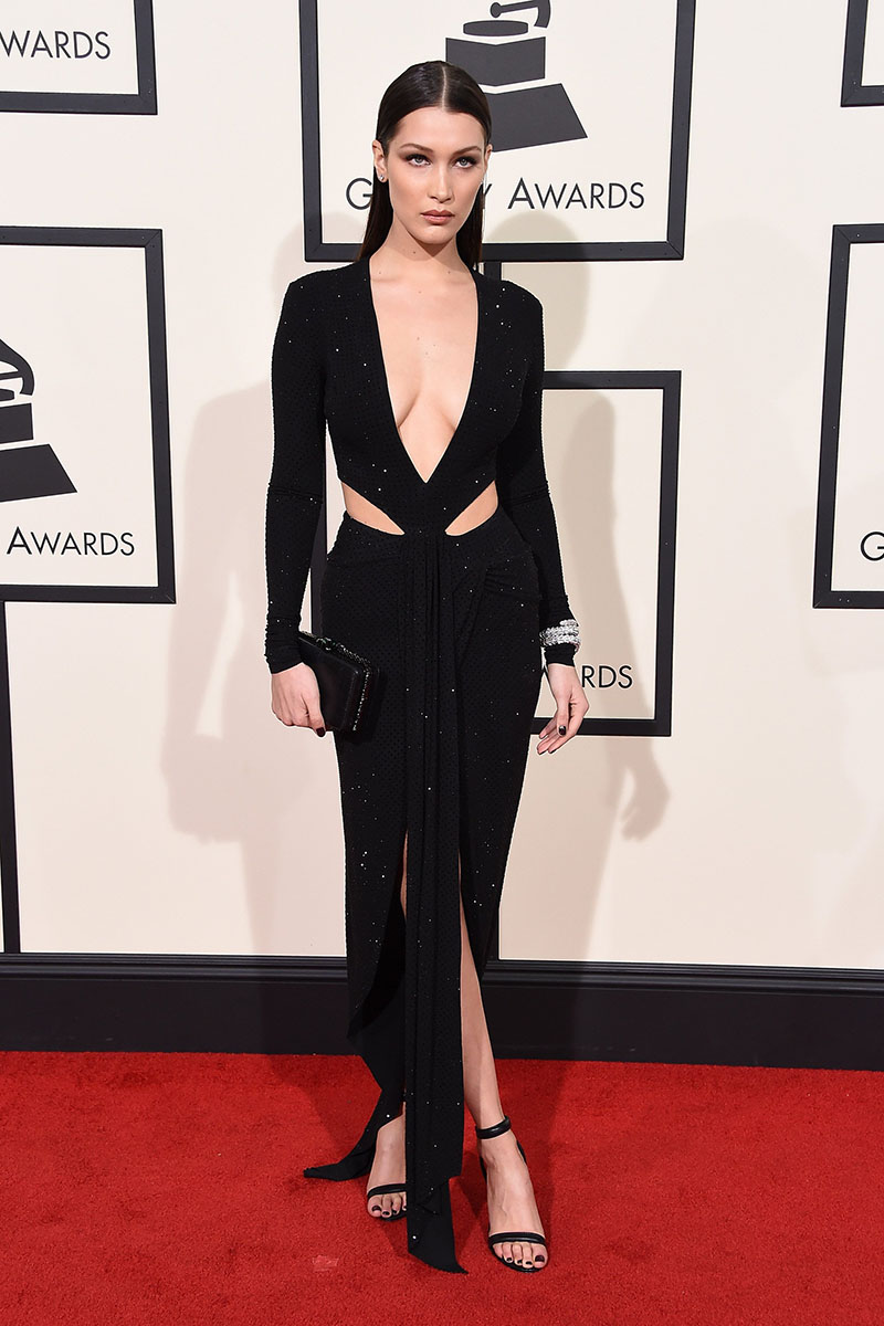bella hadid long sleeve black slit evening dress grammys 2016 red carpet