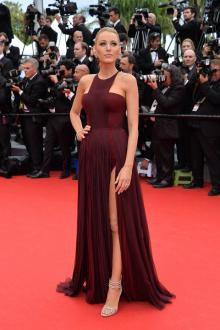 blake lively burgundy chiffon celebrity prom dress cannes red carpet