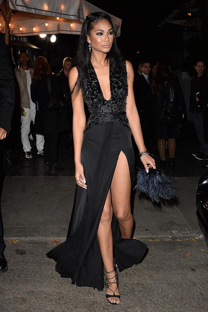 Chanel Iman Unique Black Slit Prom Dress 2016 Golden Globe