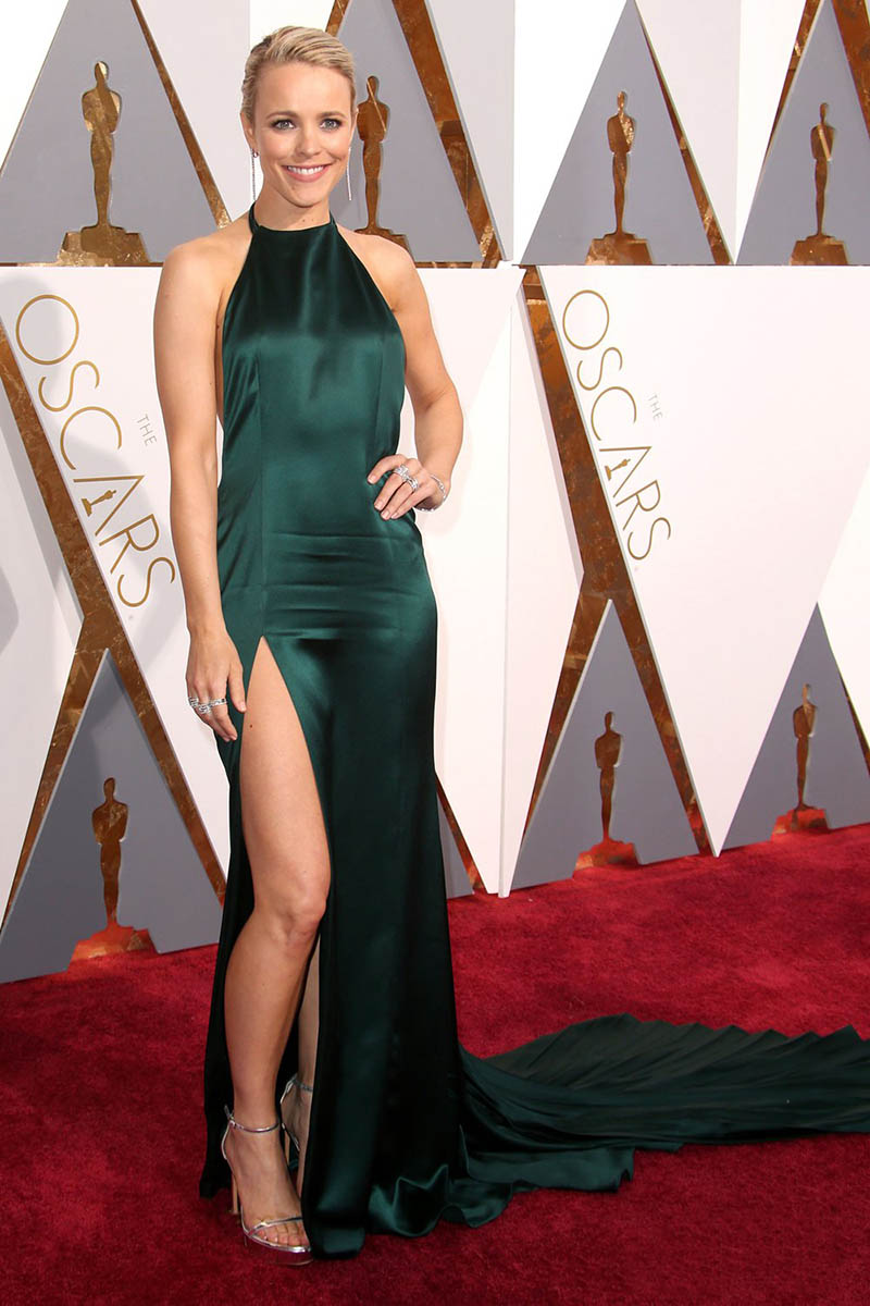 dark green long train celebrity evening dress 2016 oscars
