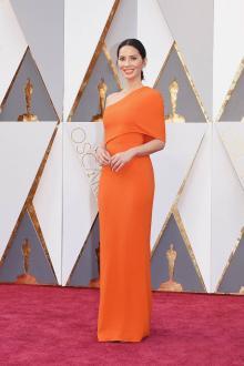 elegant one shoulder orange evening dress