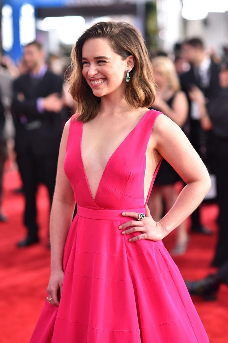 Emilia Clarke Hot Pink Deep V Neck Ball Gown Dress Sag