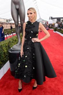 floral petals black satin prom gown sag awards