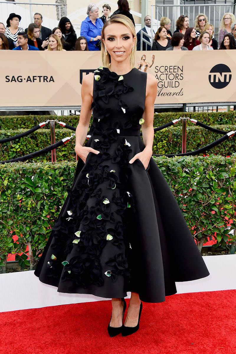 Giuliana Rancic Floral Petals Black Satin Prom Gown Sag Awards 2016