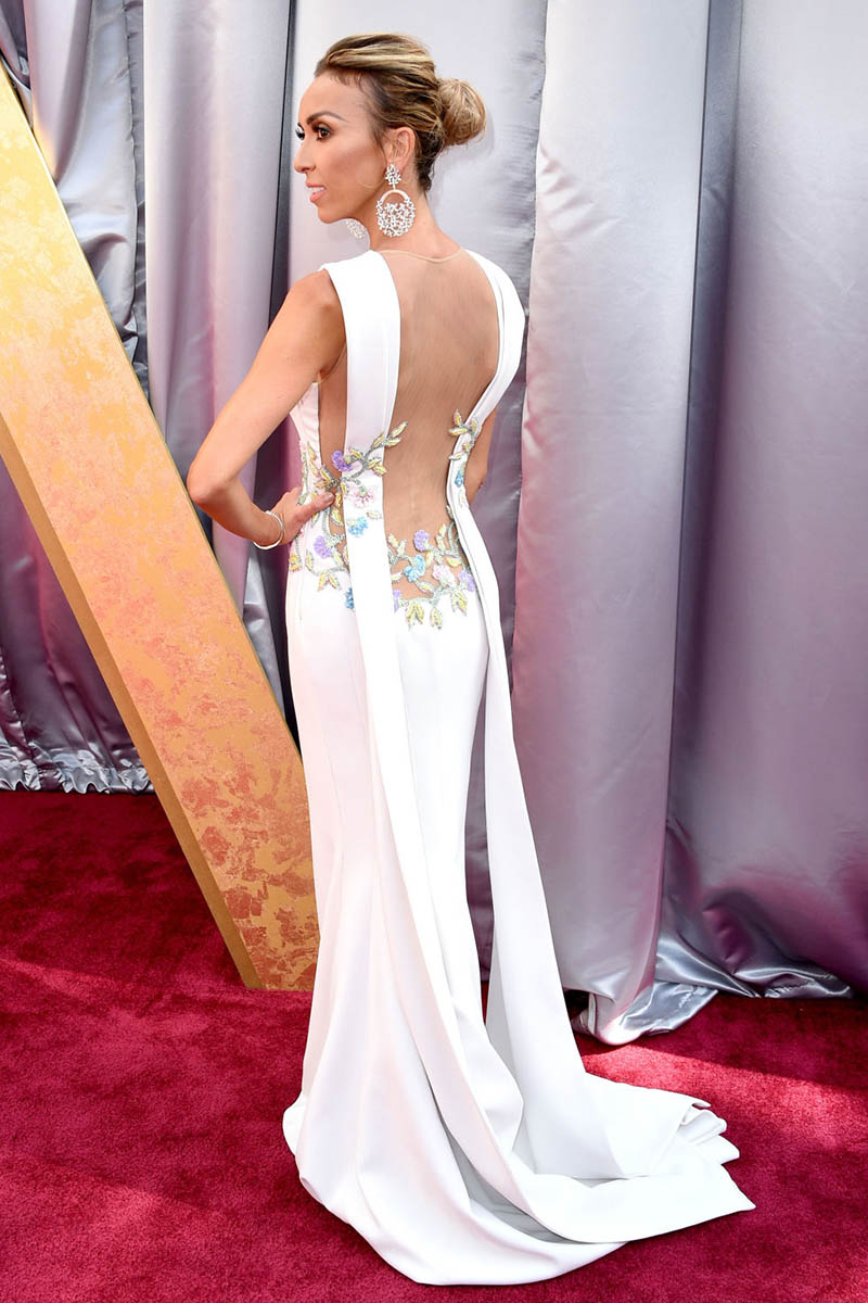 Giuliana Rancic Floral White Mermaid Evening Dress Oscars 2016 Red ...