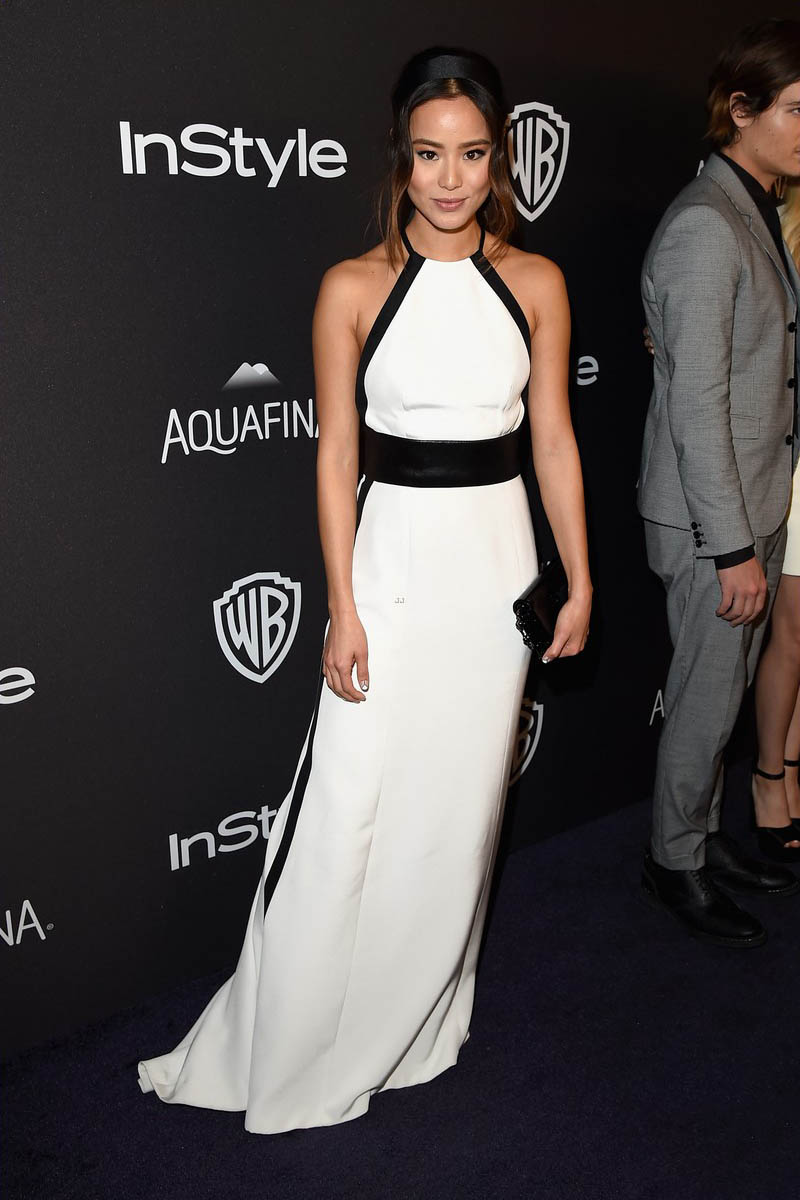 jamie chung black and white celebrity evening dress 2016 golden globes