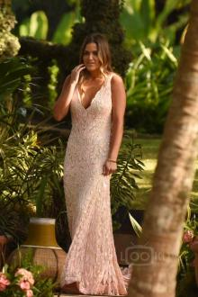 jojo fletcher pink lace mermaid celebrity dress movie bachelorette