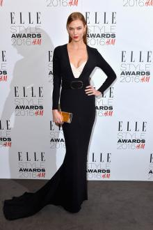 karlie kloss long sleeve black mermaid long celebrity evening dress elle awards