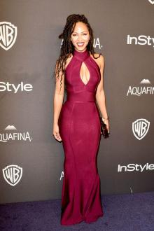 meagan good amazing high neck burgundy prom dress golden globe awards