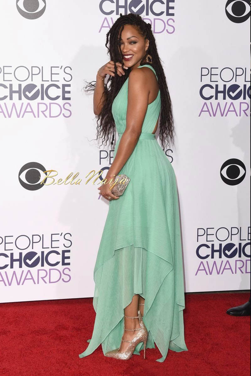 meagan good green chiffon vneck prom dress peoples choice
