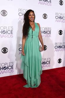 meagan good green chiffon v neck prom dress peoples choice