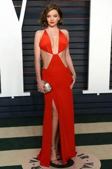miranda kerr sexy red celebrity prom dress vanity fair oscar 2016 party
